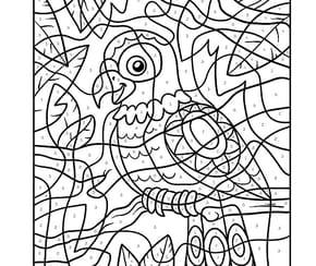 Coloriage Magique CM1, une perruche multicolore