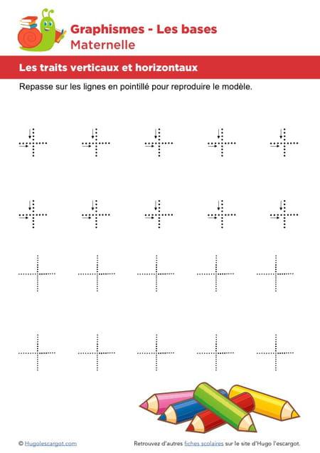 Les bases du graphisme les traits horizontaux et verticaux niveau 1 - Relier 9 points avec 3 traits ...