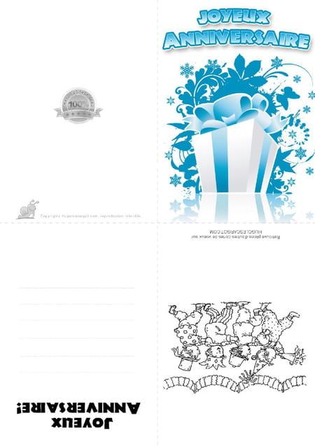 Carte Anniversaire Cadeau Bleu Et Blanc
