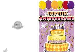 Carte anniversaire gâteau 7ans