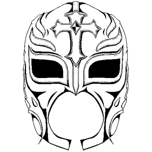 Dessin Masque de Rey Mysterio a colorier