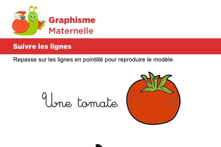 Suivre les lignes pour dessiner une tomate