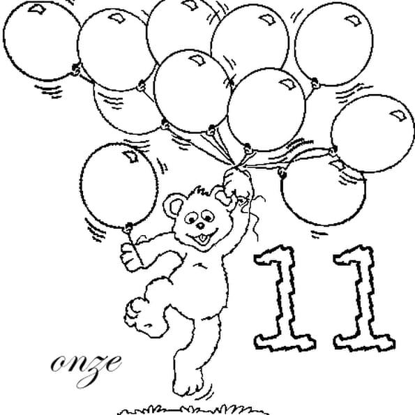 Dessin nombre 11 a colorier