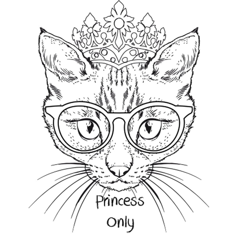 chat princesse - Coloriage Chaton Imprimer