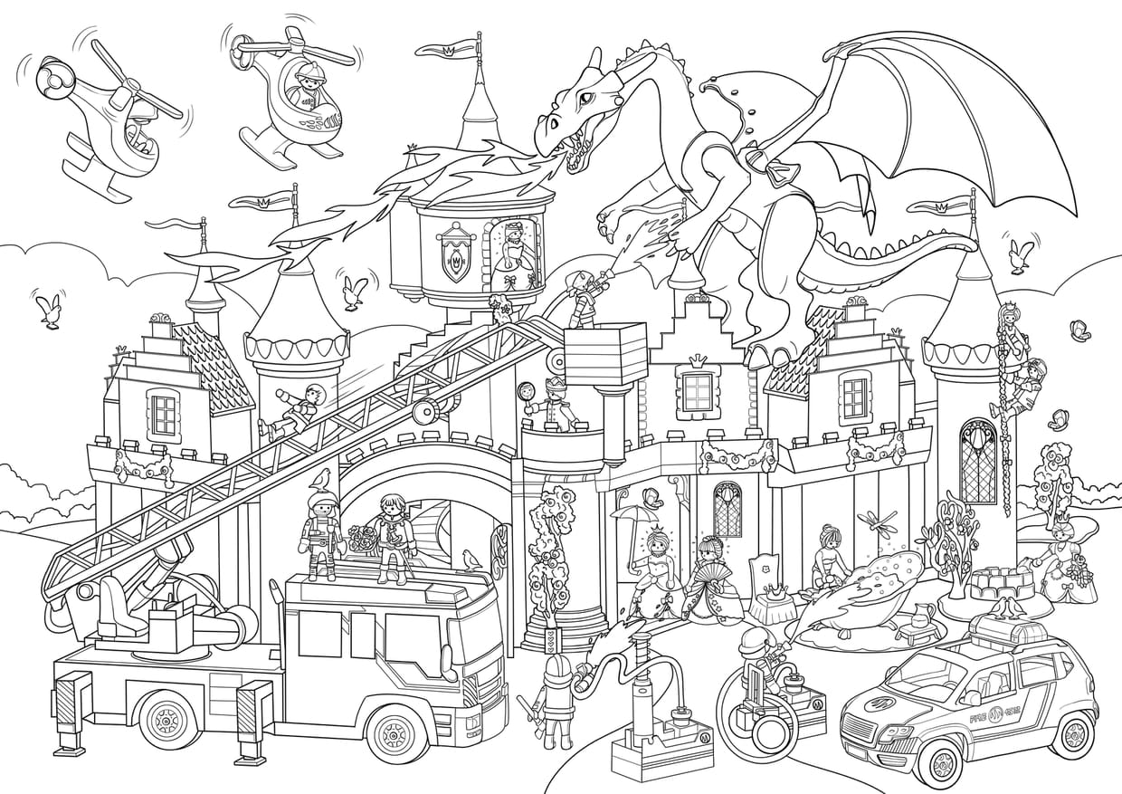 Coloriage Cache Cache Playmobil Chateau Fort