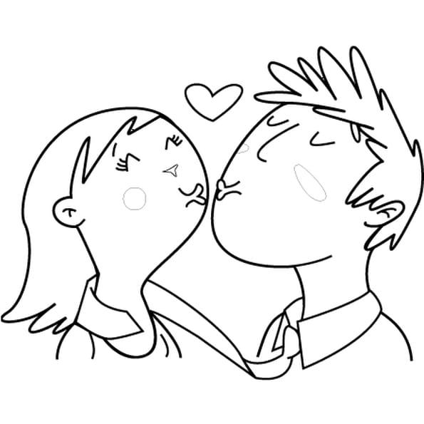 Coloriage les amoureux en ligne gratuit imprimer - Dessin de coeur amoureux ...