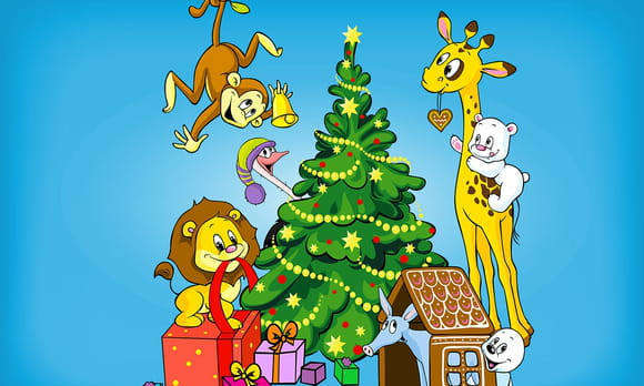 Coloriage Noël des animaux