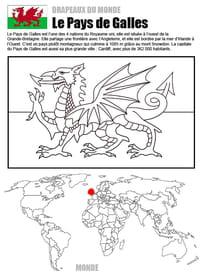 Coloriage monde drapeau Pays de Galles