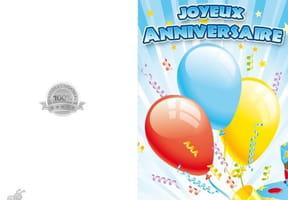 Carte anniversaire trois ballons