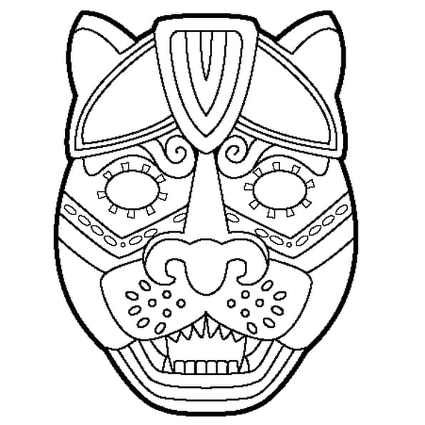 dessin masque de jaguar a colorier