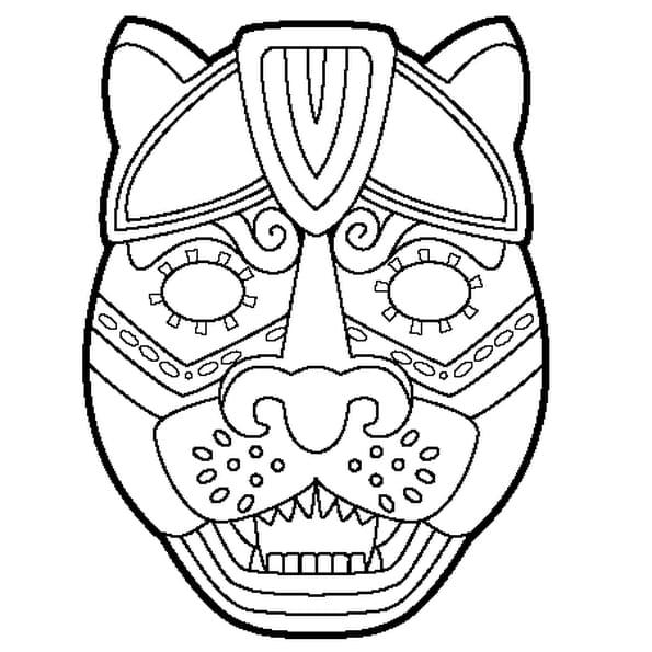 Coloriage Masque de jaguar en Ligne Gratuit à imprimer
