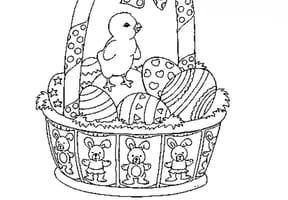 Carte de Pâques panier et poussins