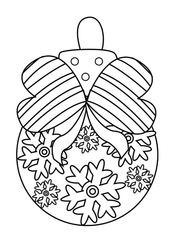 Coloriage Boule De Noël Cœurs Et Flocons