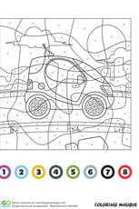 Coloriage magique CE1: une mini voiture