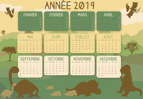 Calendrier 2019 dinosaure