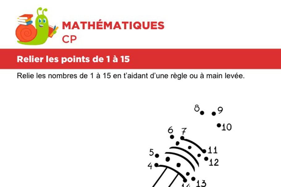 Relier les points de 1à 15, un crayon à papier
