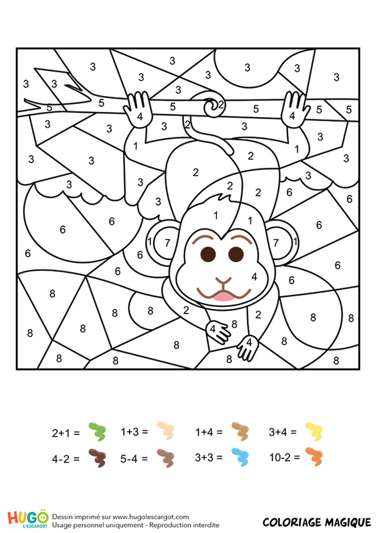 Coloriage Magique Cp Maths A Imprimer.Coloriage Magique Cp Un Singe Facetieux