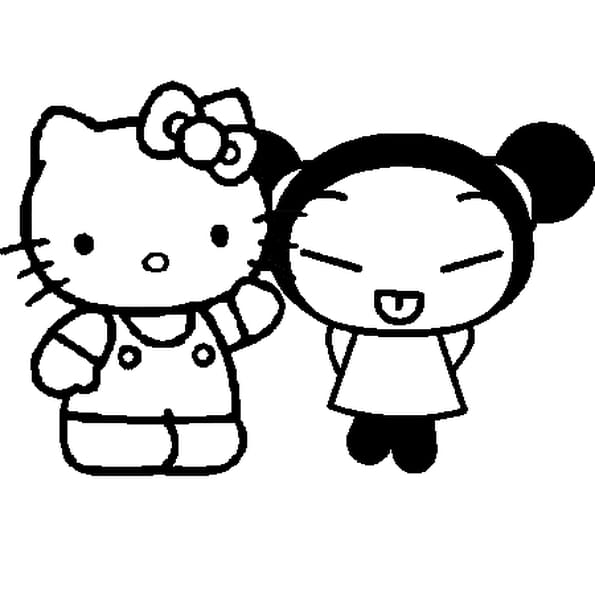 Dessin Hello Kitty Pucca. a colorier