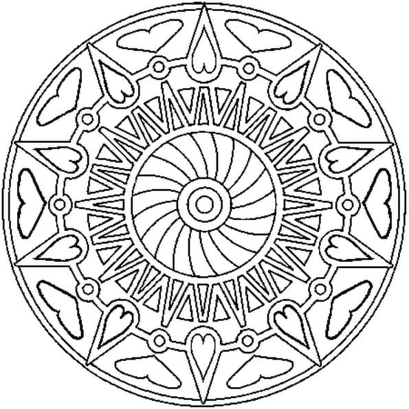 Mandala coeurs coloriage mandala coeurs en ligne gratuit - Mandala coeur imprimer gratuitement ...