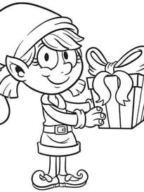 Mademoiselle Lutin avec son cadeau