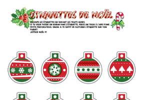 Étiquettes boules de Noël